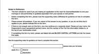 Divorce application form template