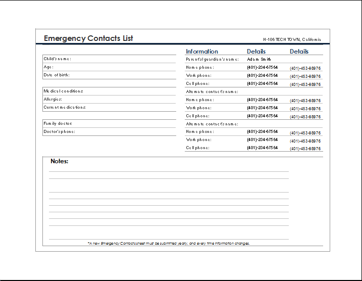 MS word Emergency Contact Form Sample – Emergency Contact Forms