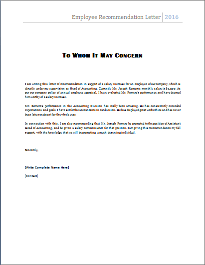 MS Word Employee Recommendation Letter Template – Reference Letter Formats