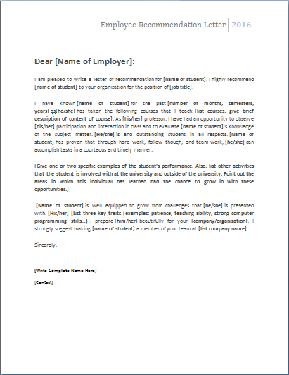 MS Word Employee Recommendation Letter Template – Employment Letter of Recommendation Template
