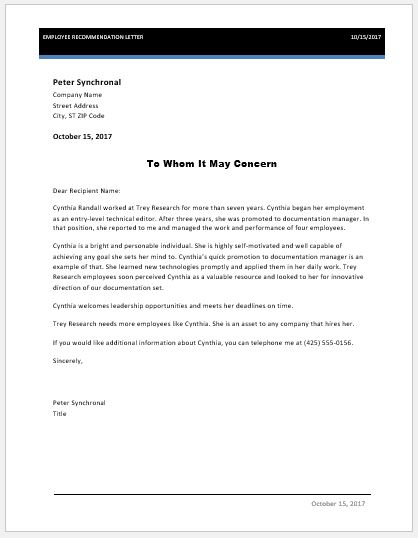 Ms Word Employee Recommendation Letter Template | Word Document