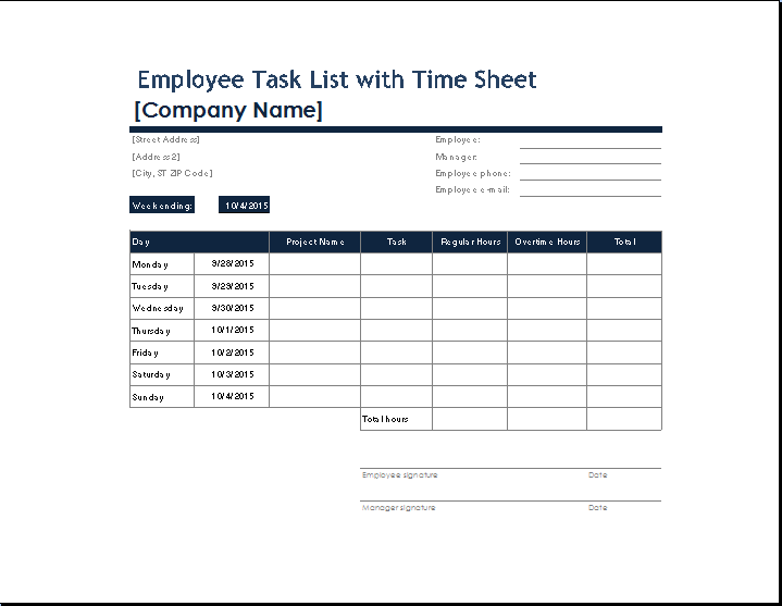Employee task list with time sheet
