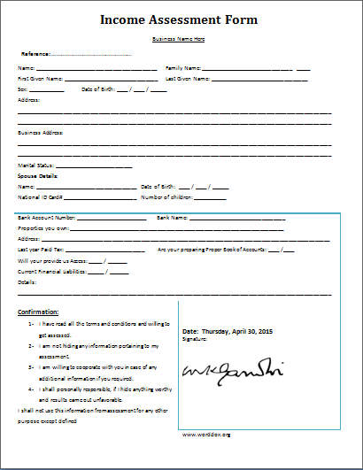 Exceptional Income Assessment Form Pertaining To Assessment Forms Templates