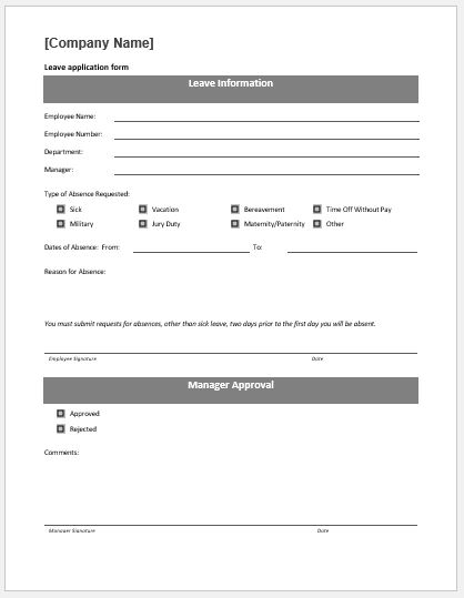 Job Leave Form