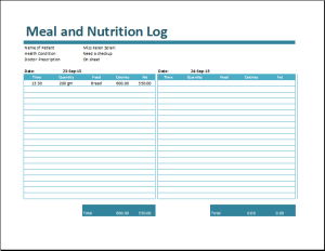 Meal Log Template
