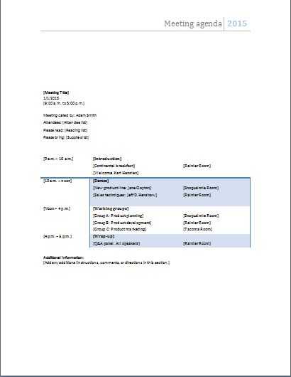 Meeting Agenda Template  Microsoft Templates Agenda