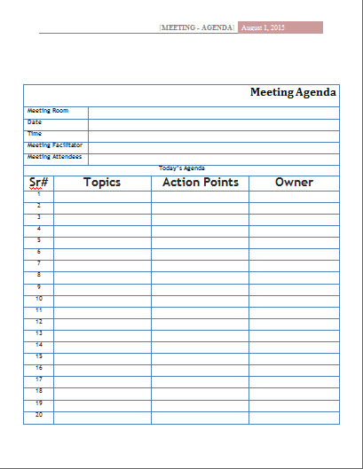 MS Word Official Meeting Agenda Templates | Word Document Templates