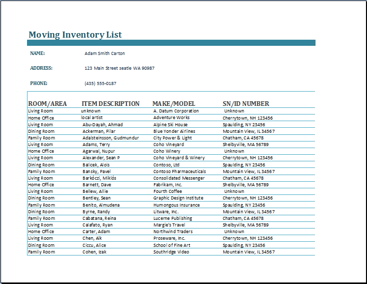 Moving Inventory List Template – Inventory List