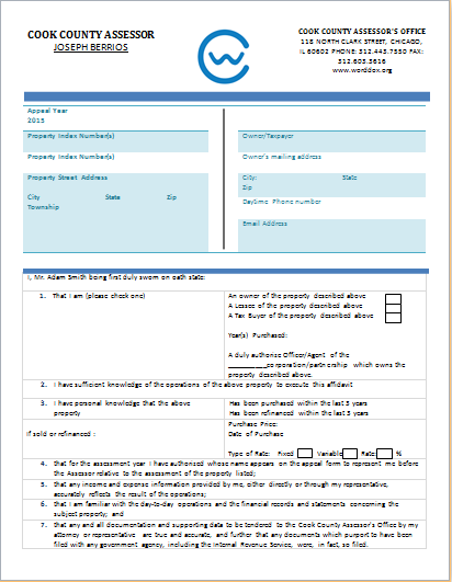 Ownership verification form template