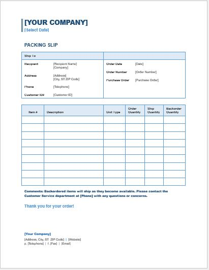Packing Slip Template for WORD