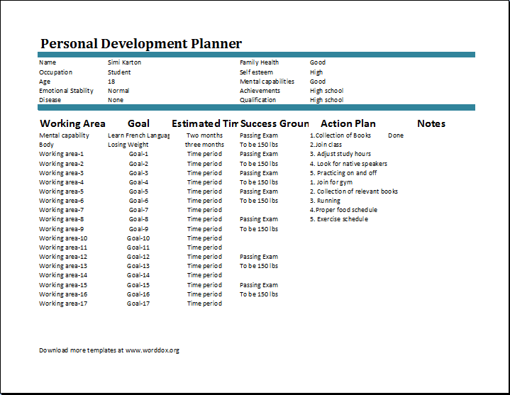 Download. Personal Development Plan Template  Example Of A Personal Development Plan Sample