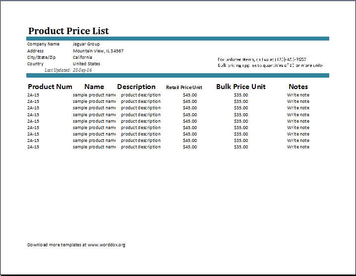 Product Price List Template – Word Price List Template