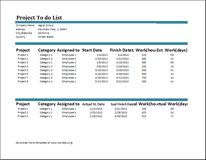 Project To do List Template – Project List