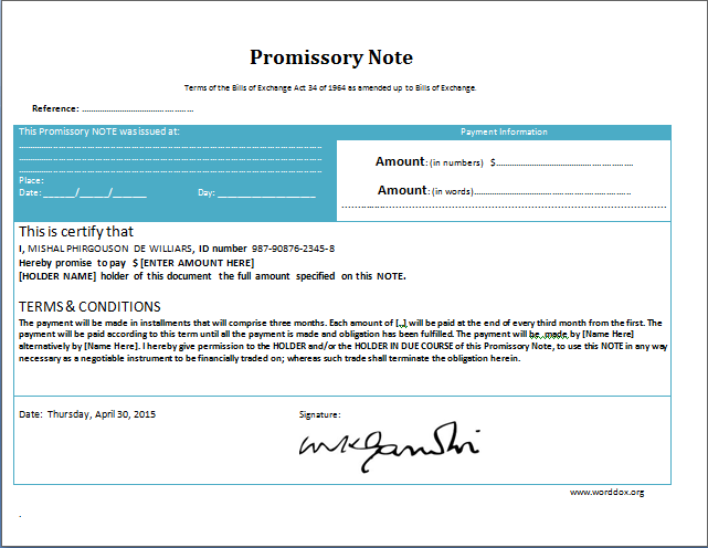 MS Word Promissory Note Form Template – Form of Promissory Note