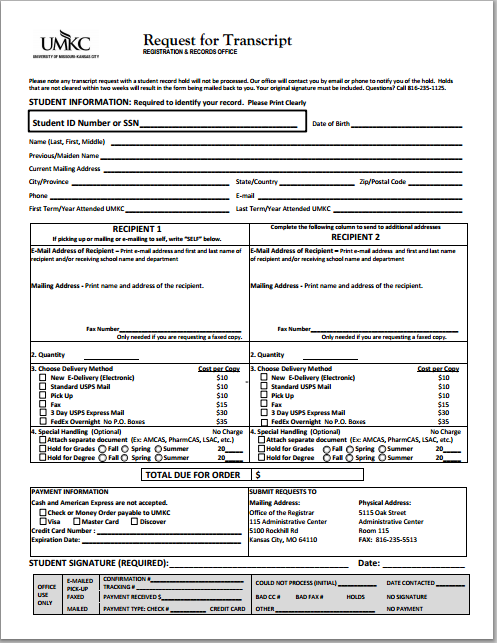 Attractive Transcript Request Form