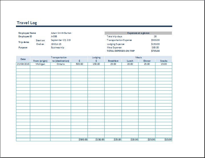 MS Excel Business Travel Log Template | Word Document Templates