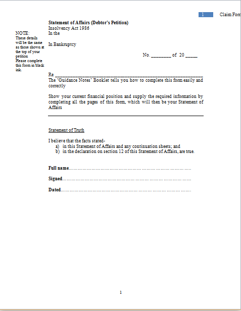 bankruptcy claim form template