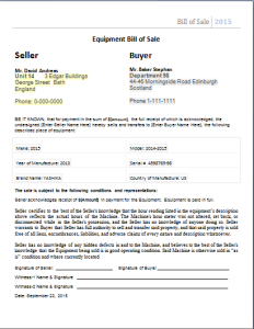 bill of sale form for equipment