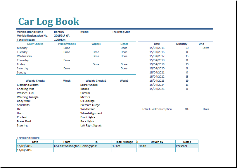 MS Excel Car Log Book Template | Word Document Templates