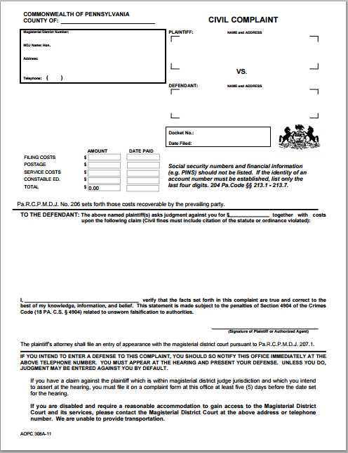 Beautiful Civil Complaint Form  Civil Complaint Template