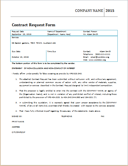 contract request form template