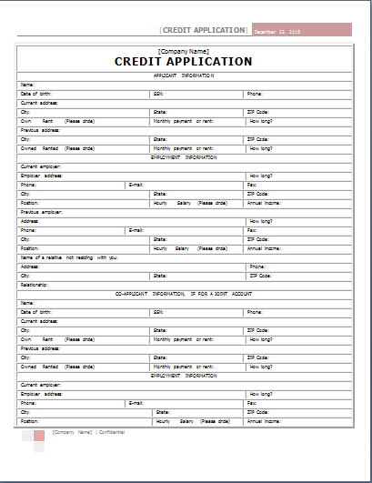 Word Internal Credit Application Form Template – Credit Application