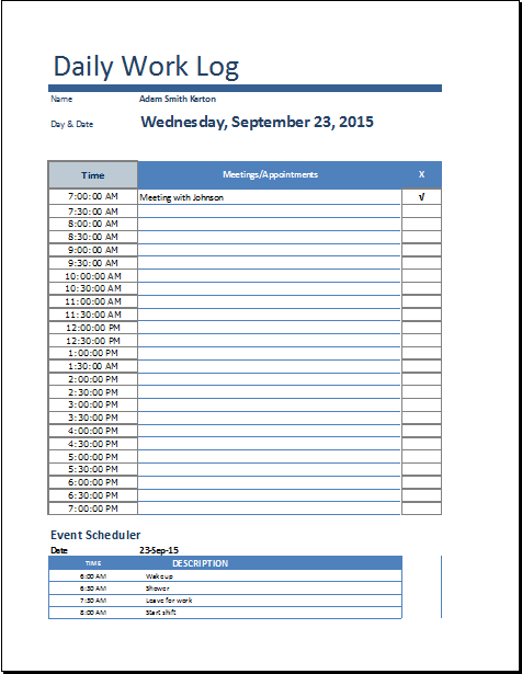 Ms Excel Daily Work Log Template Word Document Templates