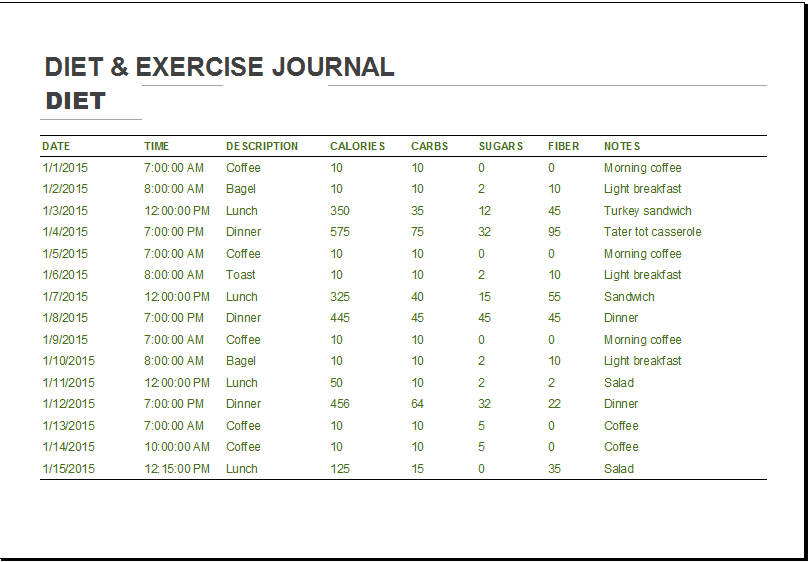 diet and exercise log template