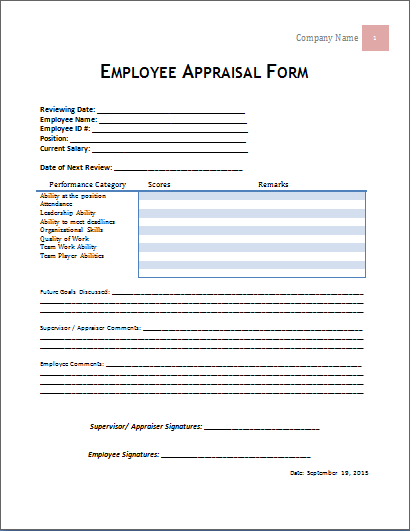 MS Word Employee Appraisal Form Template – Appraisal Document Template