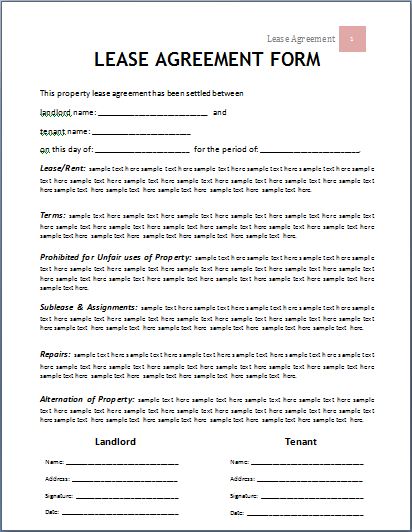MS Word Lease Agreement Form Template – Rental Agreement Form Template