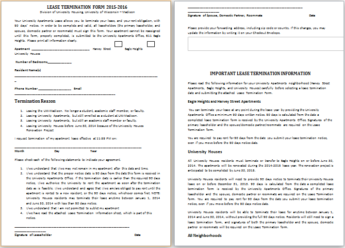 ... Lease Termination Form