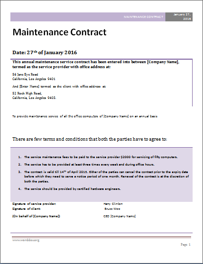 Maintainence Contracts Aprilonthemarchco - Fee for service contract template