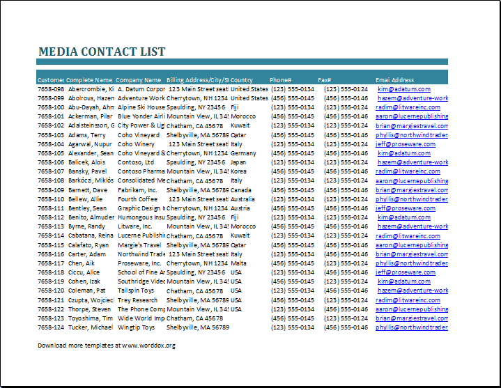 Media Contact List Template – Contact List Templates