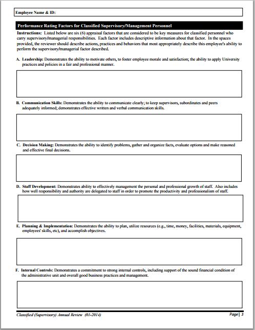 appraisal form example – Appraisal Forms Template