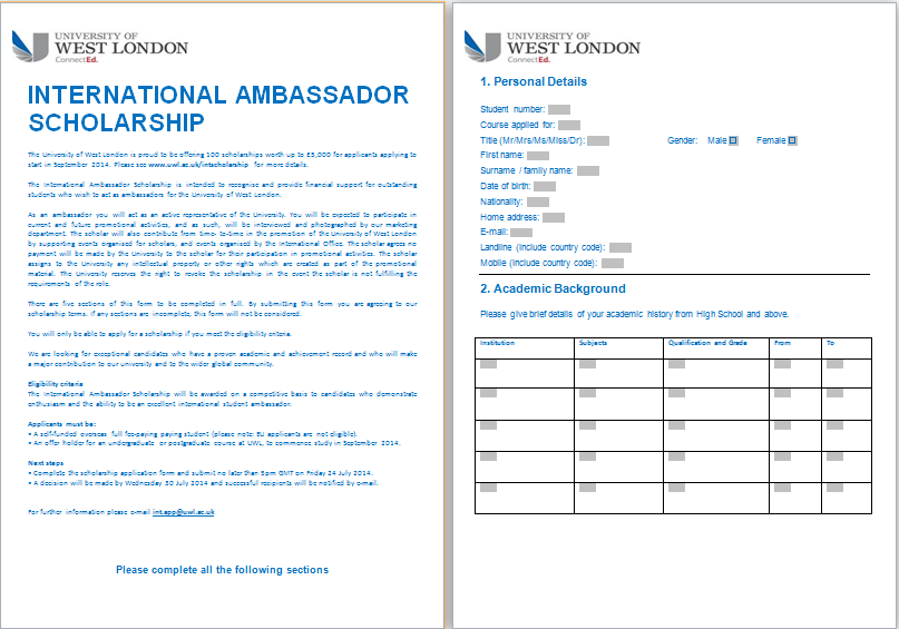 MS Word Formal Scholarship Application Form Template | Word ...
