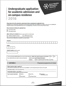 study admission application form