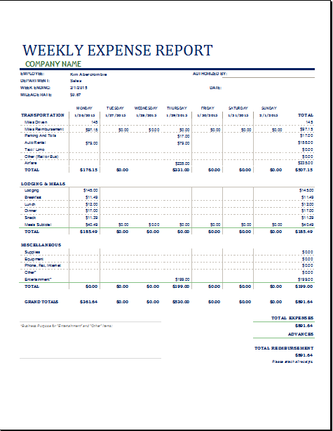 MS Excel Weekly Business Expense Report Template | Word Document ...