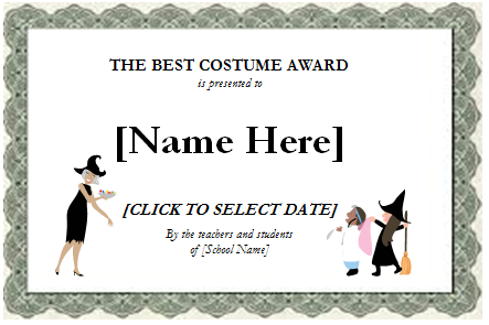 Birthday Halloween and Most Valuable Player Award Certificates