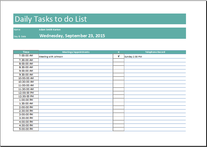 daily tasks to do list