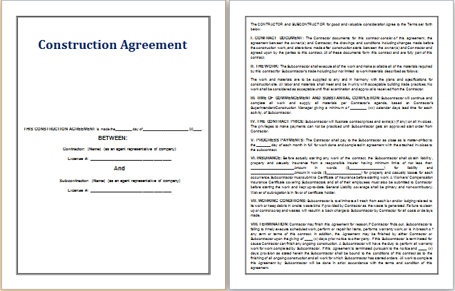 Construction Agreement Template  Contract Templates For Word
