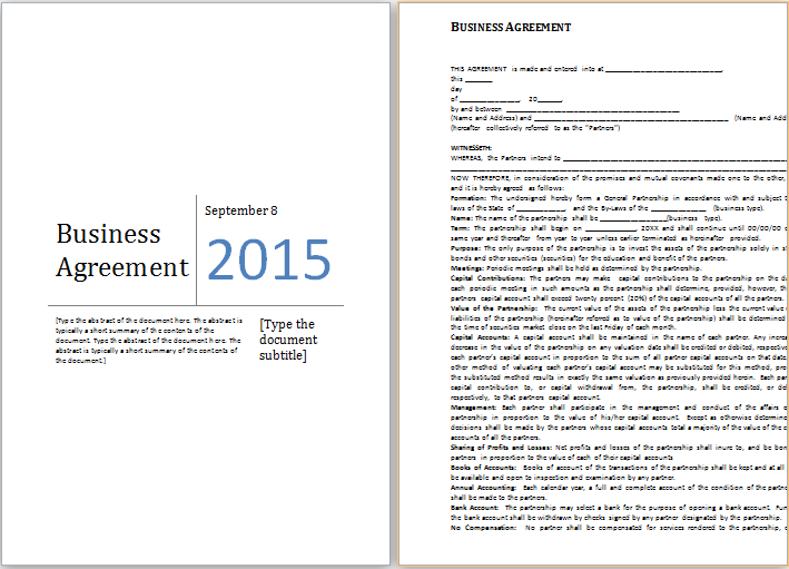 MS Word Business Agreement Template – Business Agreement Templates