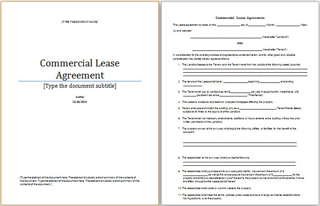 Ms Word Commercial Lease Agreement Template Word Document