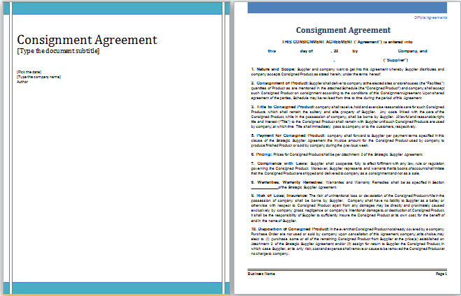 MS Word Consignment Agreement Template – Sample Consignment Agreement