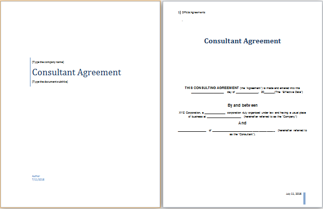 Ms Word Consultant Agreement Template Word Document Templates