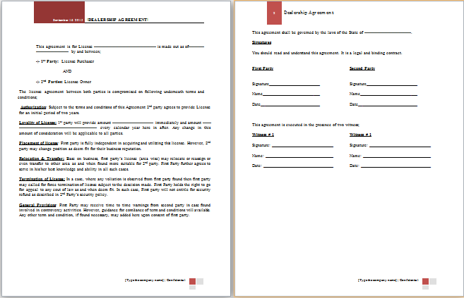 Ms word dealership agreement template word document for Training terms and conditions template