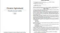 finance agreement template