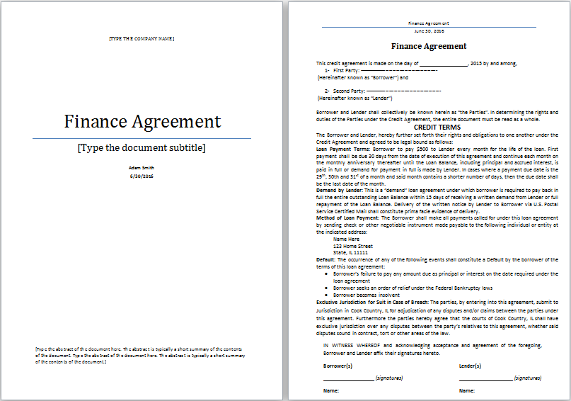 ms word finance agreement template word document templates