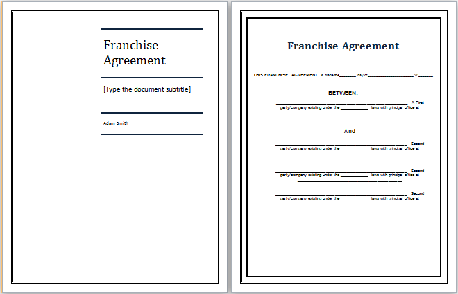 MS Word Franchise Agreement Template – Sample Franchise Agreements