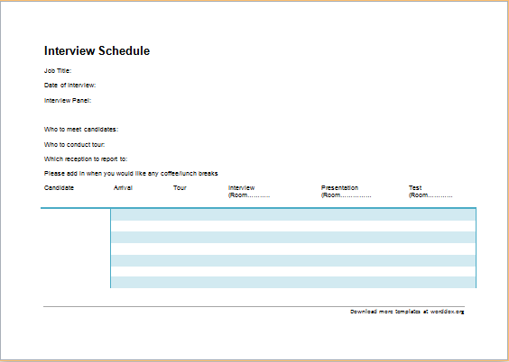 Official Interview Schedule Template – Sample Interview Schedule Template