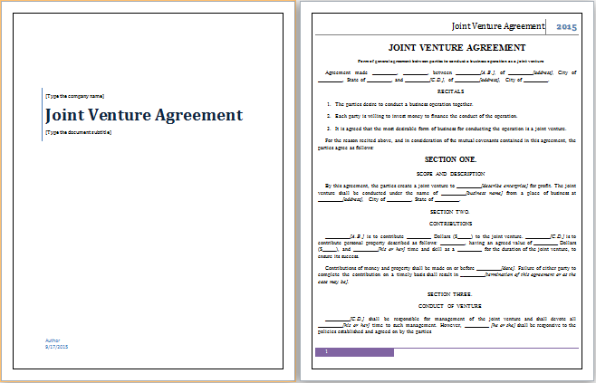 Joint Venture Agreement Template  Joint Venture Agreement Doc